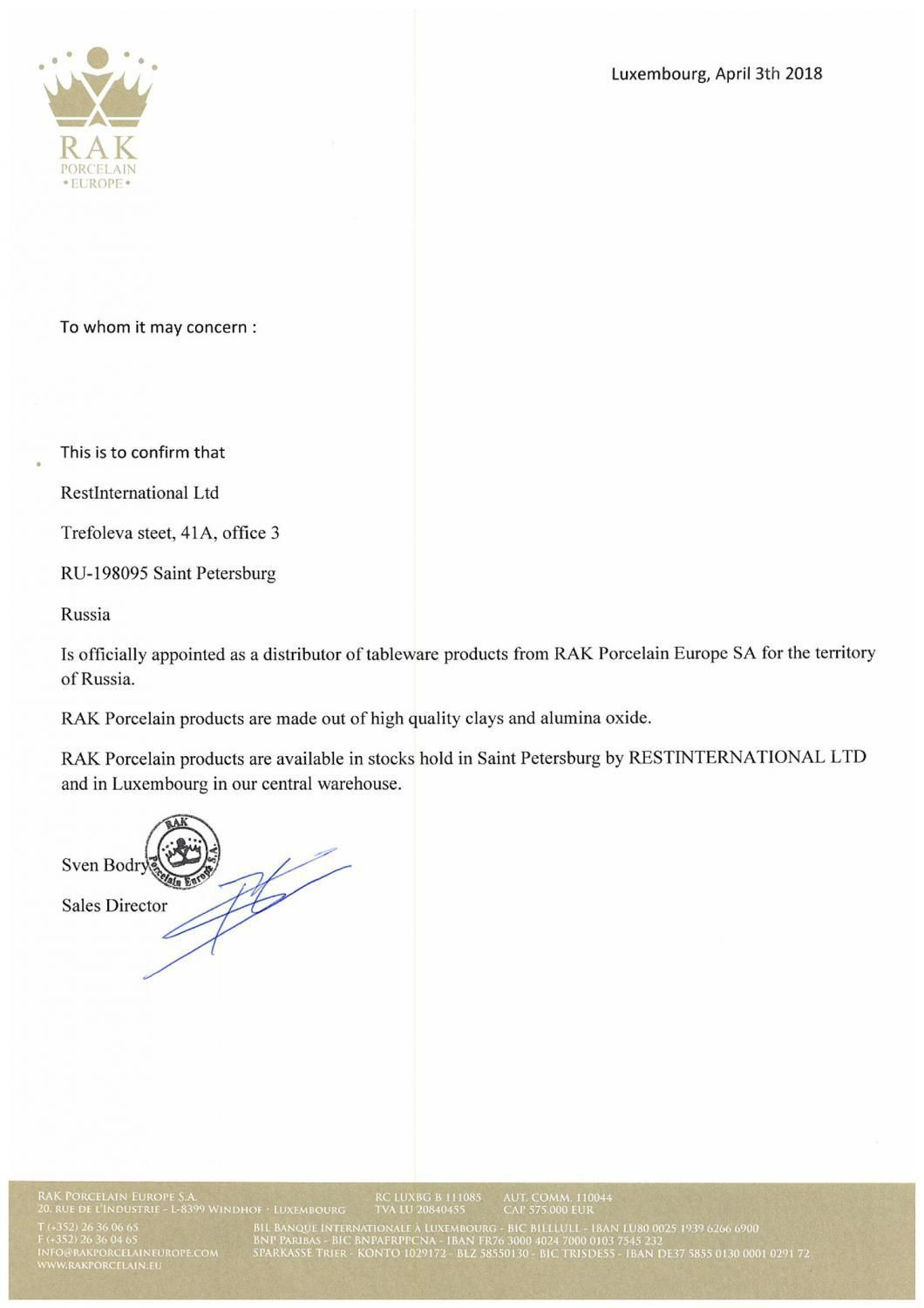 CERTIFICAT OF APPOINTED DISTRIBUTOR IN RUSSIA